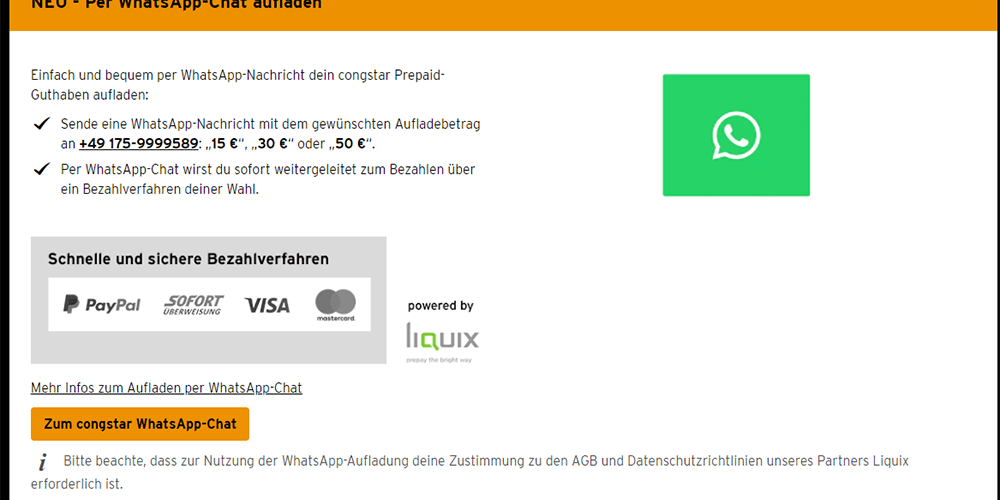 congstar Prepaid Karte mit guthaben aufladen