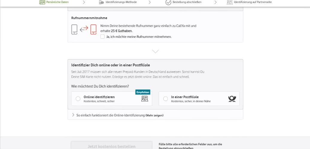 Vodafone CallYa Registrierung