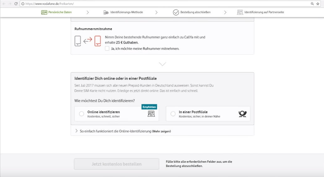 Callya Karte Freischalten.Vodafone Callya Registrierung Infos Zur Callya Identifizierung